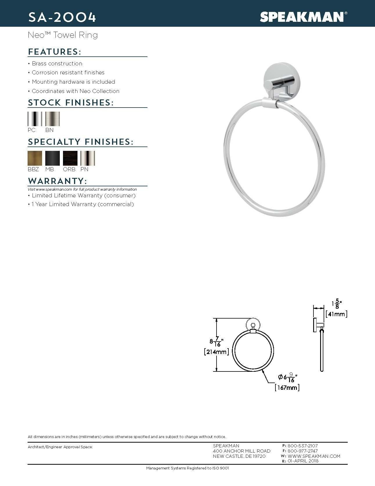 Speakman SA-2004-MB Neo Towel Ring, Matte Black by Speakman (Image #5)