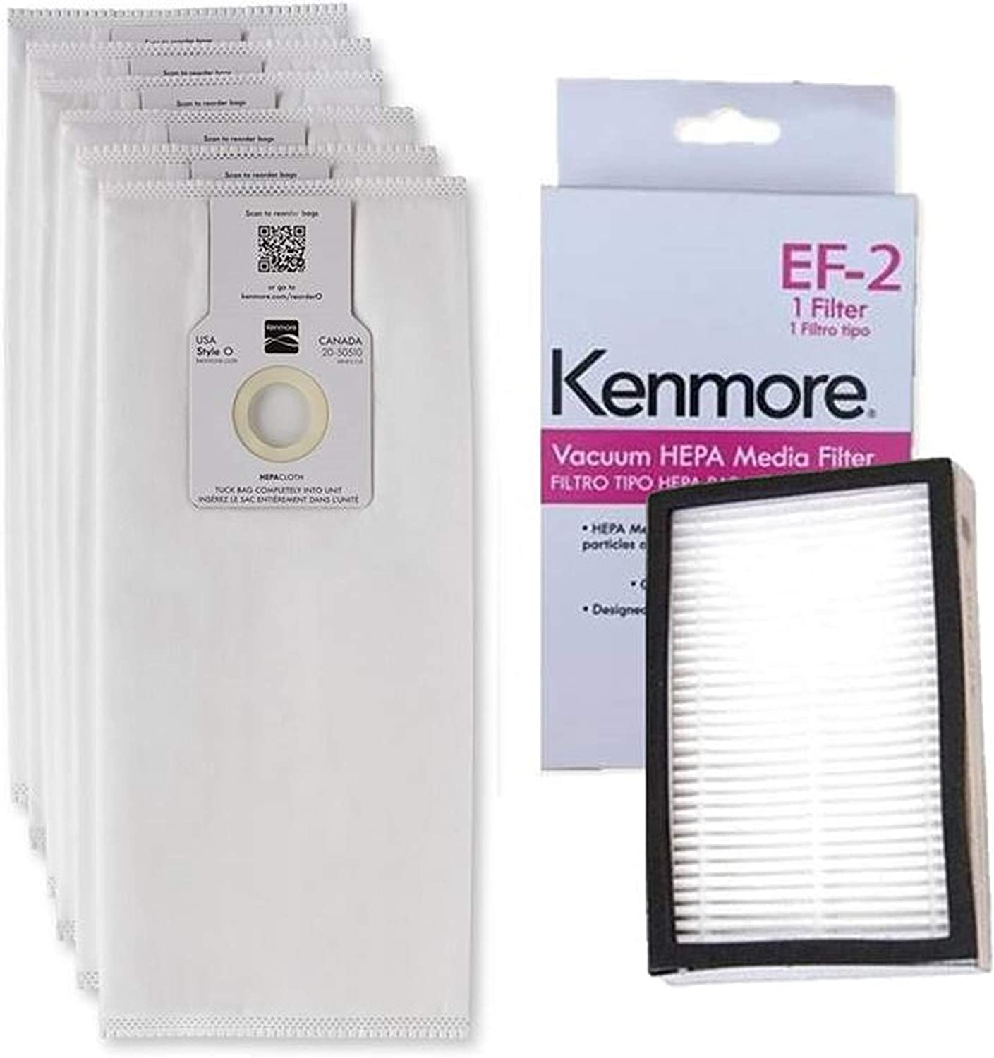 Ultra Care 6+1 PK OEM Replacement for Kenmore O/U HEPA Bags 53294 + 1 Sears Kenmore EF-2 Filter 86880