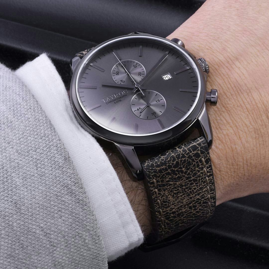 Reloj hombre RELOJ tayroc Iconic Negro Cronógrafo Acero inoxidable Cuarzo Banda de piel txm092: Amazon.es: Relojes