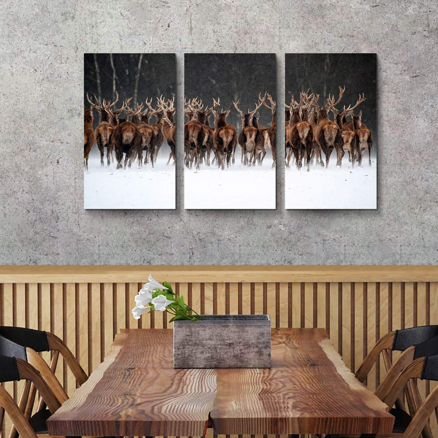 Hardy Gallery Rustic Landscape Picture Animals Art Misty Deer Painting Print on Canvas for Wall