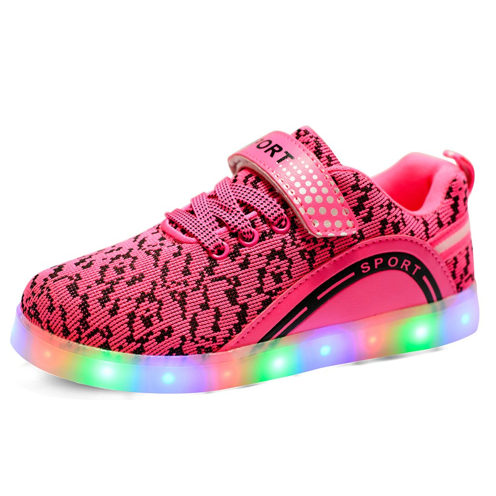 Cool Gift, Children's Rechargeable 7 colors Kids LED Light Up Sneakers for Girls and Boys ( - - fabric xiaoyang
