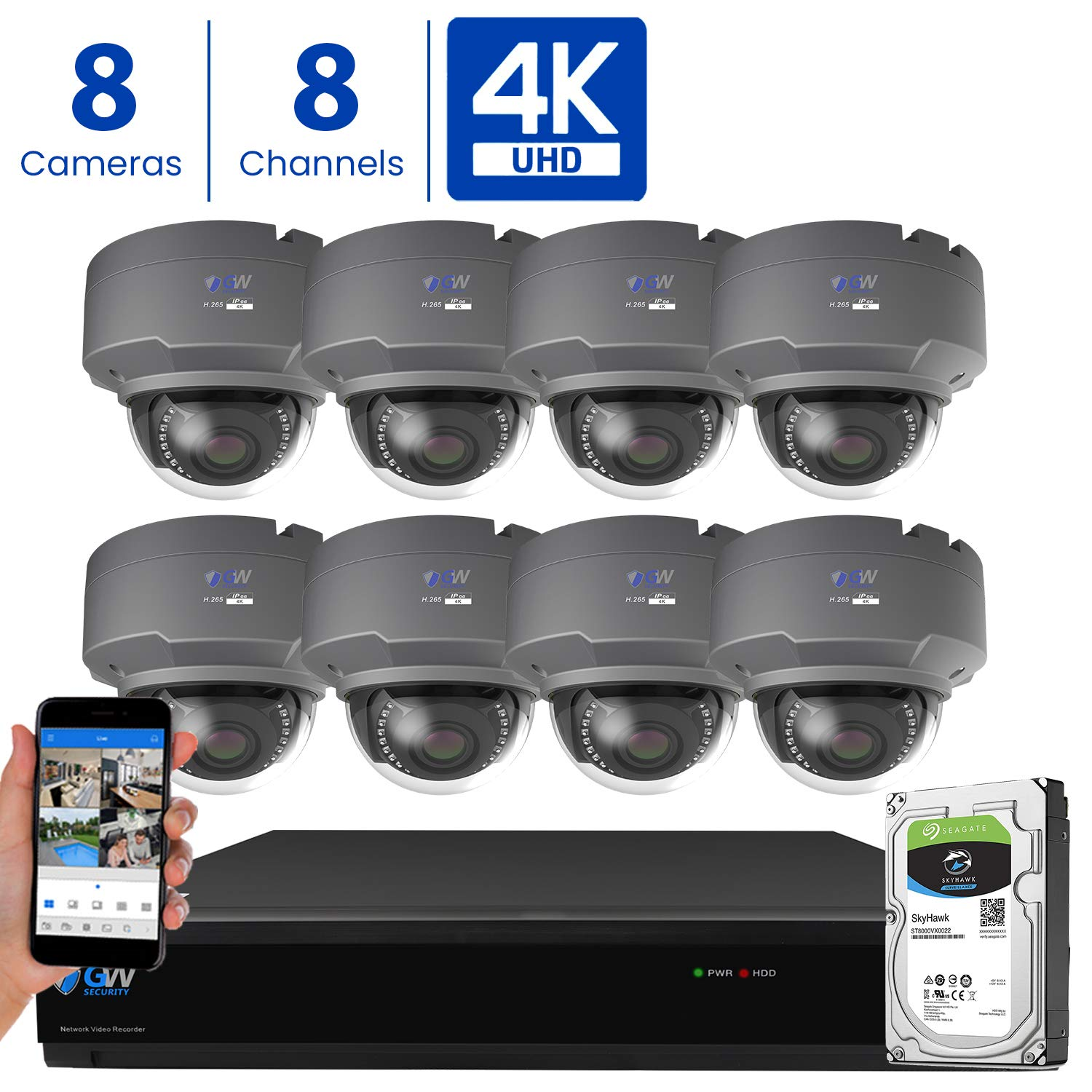 GW 8 Channel 4K H.265 CCTV DVR Security Camera System with 8 x UHD 8MP 2.8-12mm Varifocal Zoom 4K Dome Surveillance Cameras and 3TB HDD, Free Remote View, Motion Alert with Snapshot