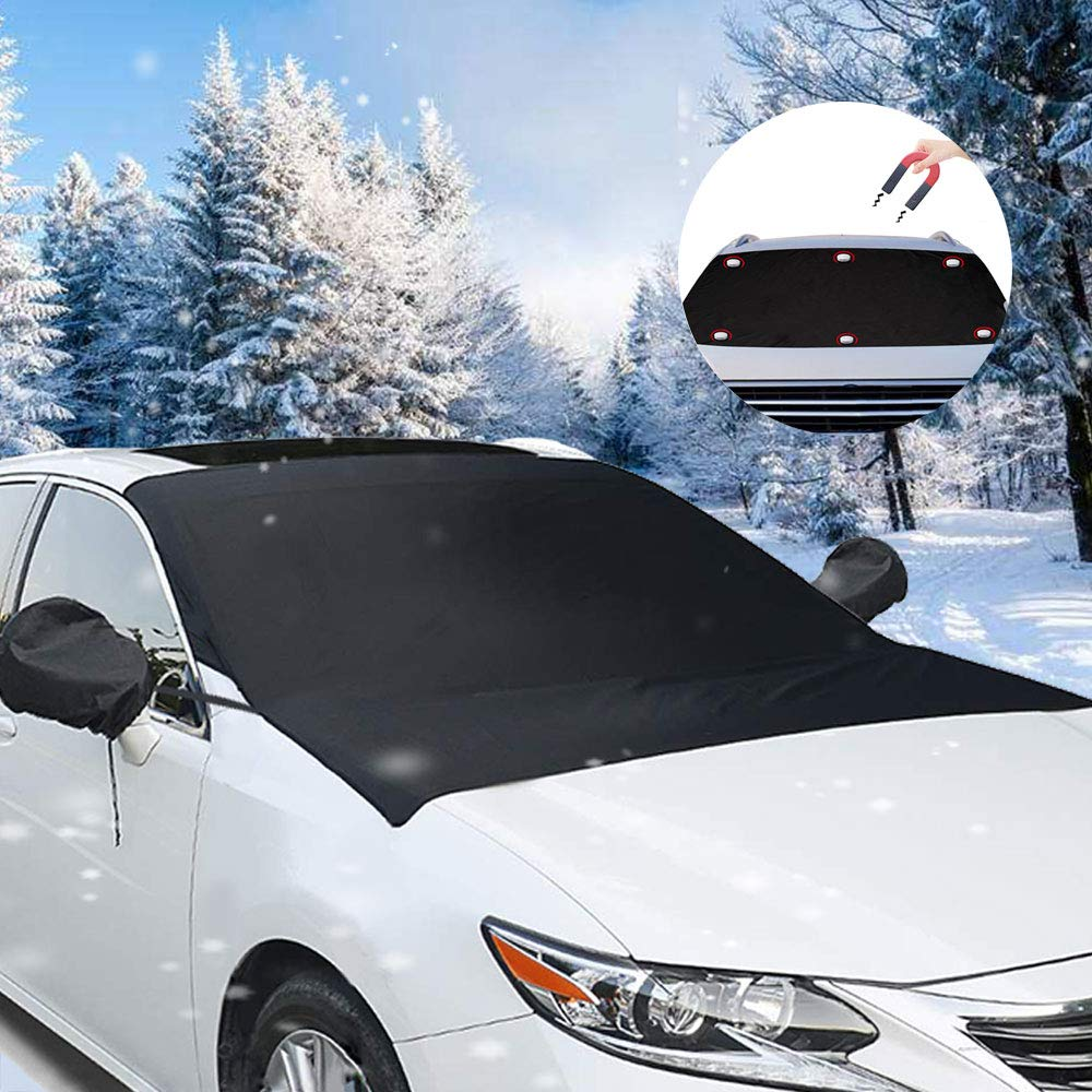 opamoo Car Snow Cover, Windshield Snowshade, Sunshade, UV Protector, Windshield Cover Rearview Mirror Protector Ice, Snow, Frost Sun Protection UV Protector  Snow Car Snow Cover