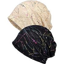 b288c6f5c37b4 Qunson Womens Lace Slouchy Beanie Turban Sleep Cap Chemo Hats Pack ...