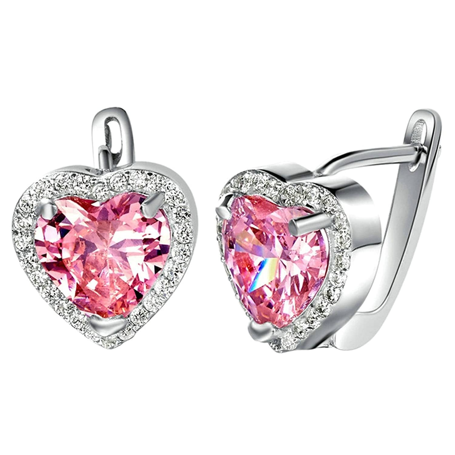 Bishilin Jewelry Sets Women Silver Plated CZ Heart Crystal Ring Pendant Necklace Earrings Set Size L 1//2