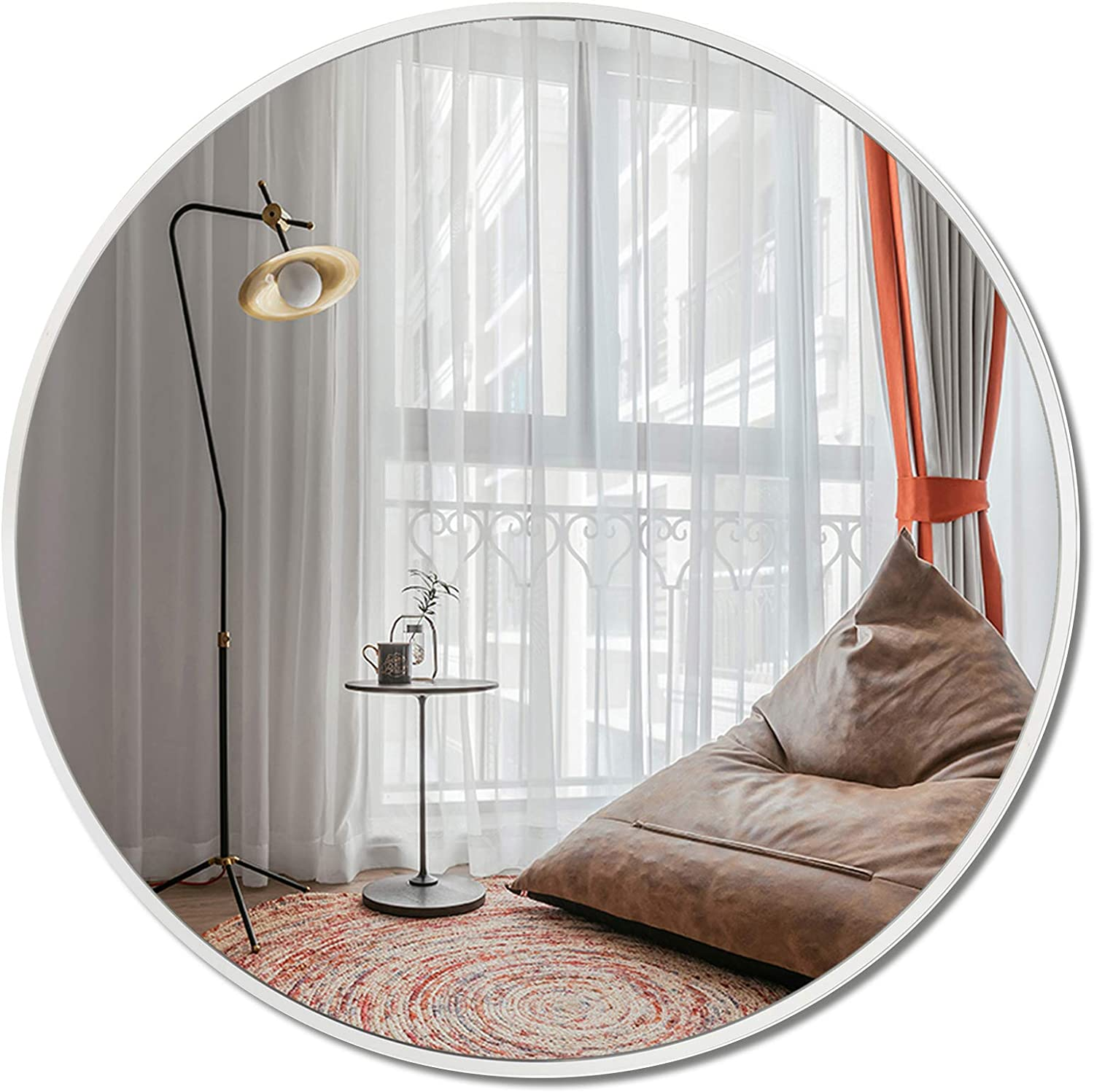 LRGLASS 36 Inches Round Mirror, Large Chrome Wall-Mounted, Circle Metal Framed Mirror, Hanging Modern Decor for Bathroom, Living Room, Entryway and Dressing Room