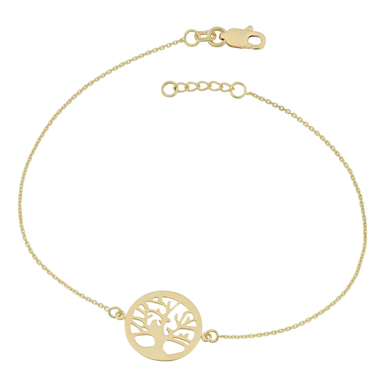 14K Or jaune Arbre de vie réglable pour femme Bracelet, 19,1cm