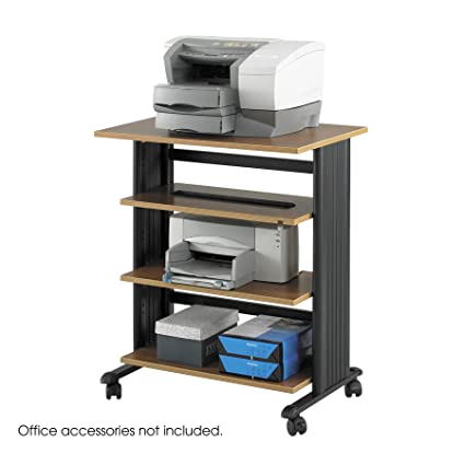 Safco Products: Mueble de soporte ajustable de 4 niveles para impresora, roble, tamaño mediano