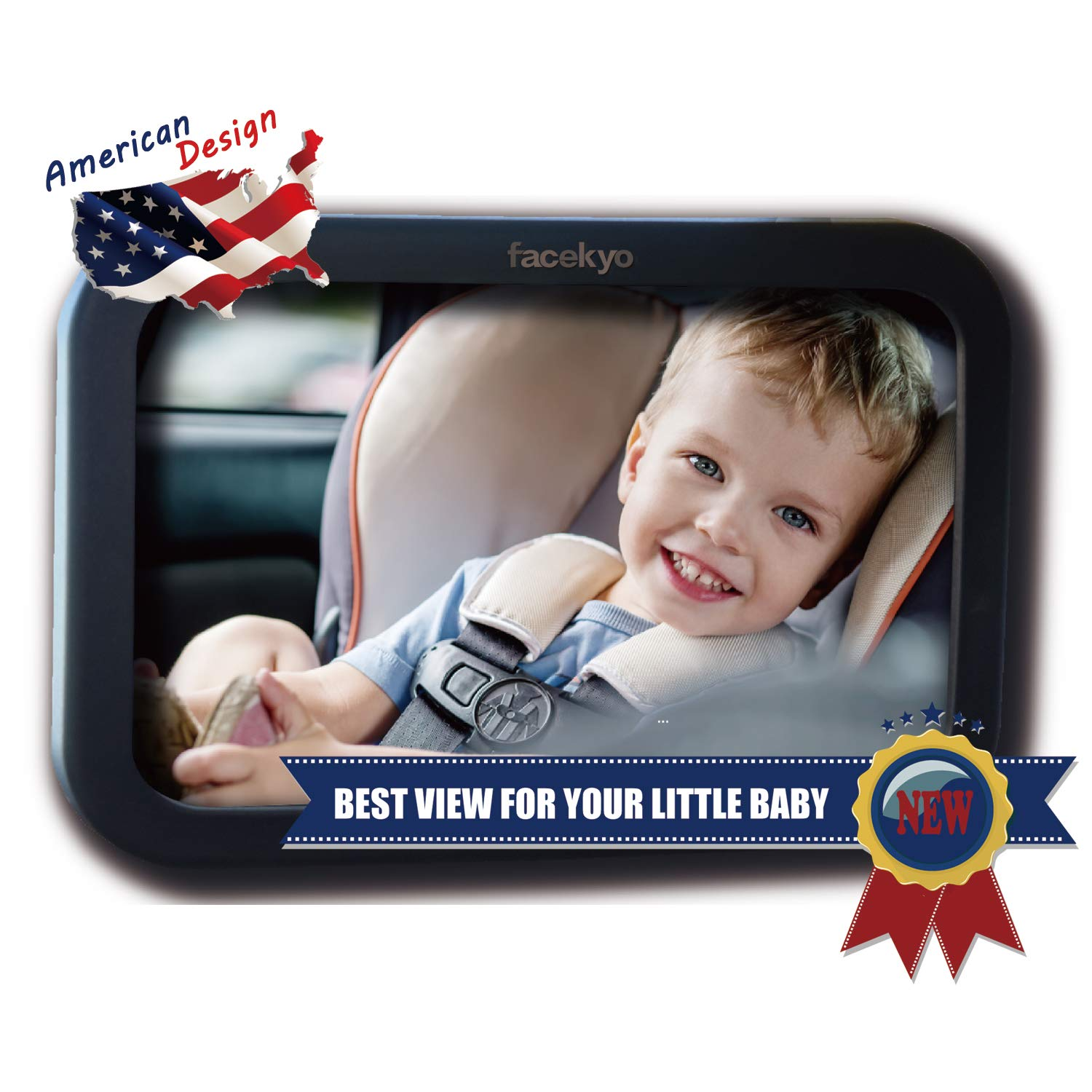 Baby Car Mirror  Baby Back Seat Mirror  Baby Rear Facing Mirror  Large Mirror for Back Seat Fixed Headrest No Shaking  Buy 2 GET 20% Off  360°Adjustable Easy to Install Facekyo Inc FM001