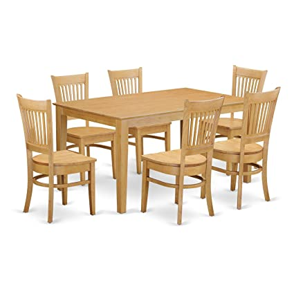 East West Furniture CAVA7 OAK W 7 Piece Dining Table And 6 Chairs Set