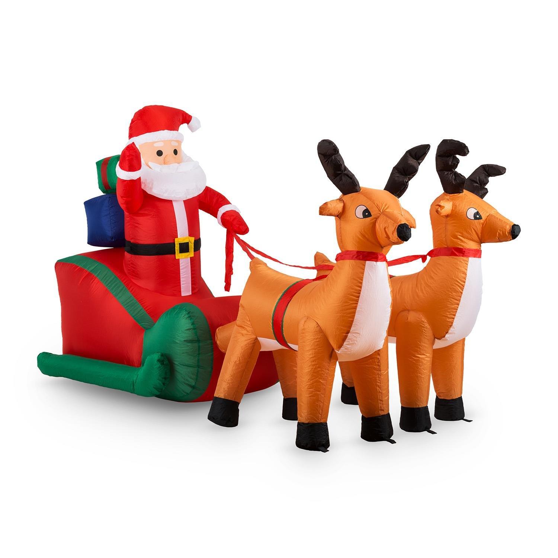 oneConcept X-Mas X-Press • aufblasbarer Weihnachtsmann • Rentiere • Schlitten • Weihnachtsdekoration • Garten- oder Hausdekoration • innen oder aussen • LED Beleuchtung • selbstaufblasend • 240 cm • sicherer Stand • Erdnägel • bunt [Energieklasse A++]