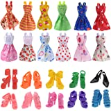 Doll Accessories 12 Pcs Mixed Doll Clothes Dress and 10 Pairs Doll Shoes Fit For Barbie Doll Girl Birthday Christmas Gift