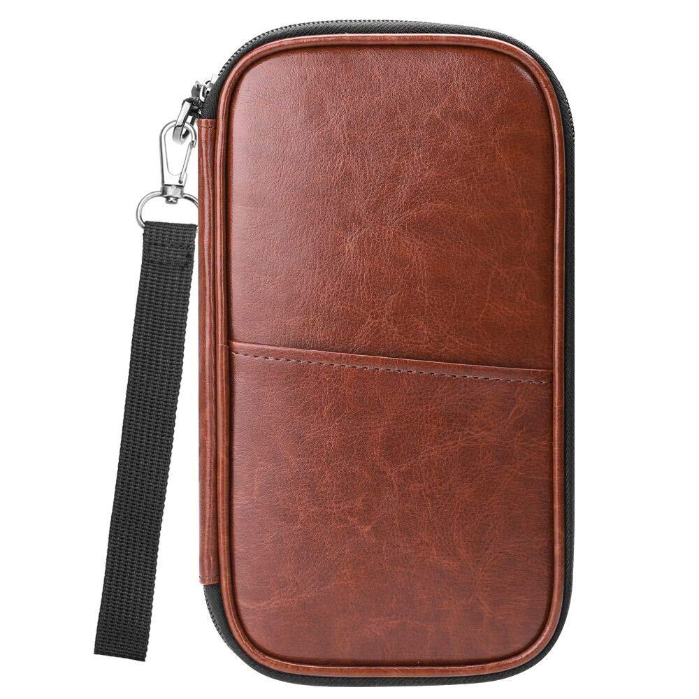 Family Passport Holder, Fintie RFID Blocking Zipper Case Document Organizer, Brown