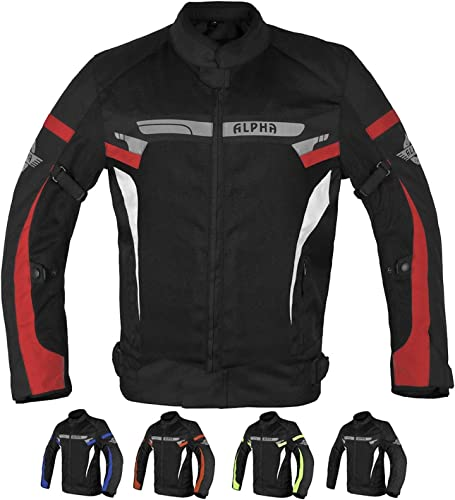 ALPHA CYCLE GEAR BREATHABLE BIKERS RIDING PROTECTION MOTORCYCLE JACKET MESH CE ARMORED