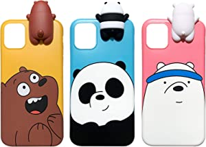 Aikeduo for iPhone 11 Pro 5.8 inch case 3D Cartoon Animals Cute We Bare Bears Soft Silicone Case Cover Skin 3pcs Sell for iPhone 11 Pro case (iPhone 11Pro)