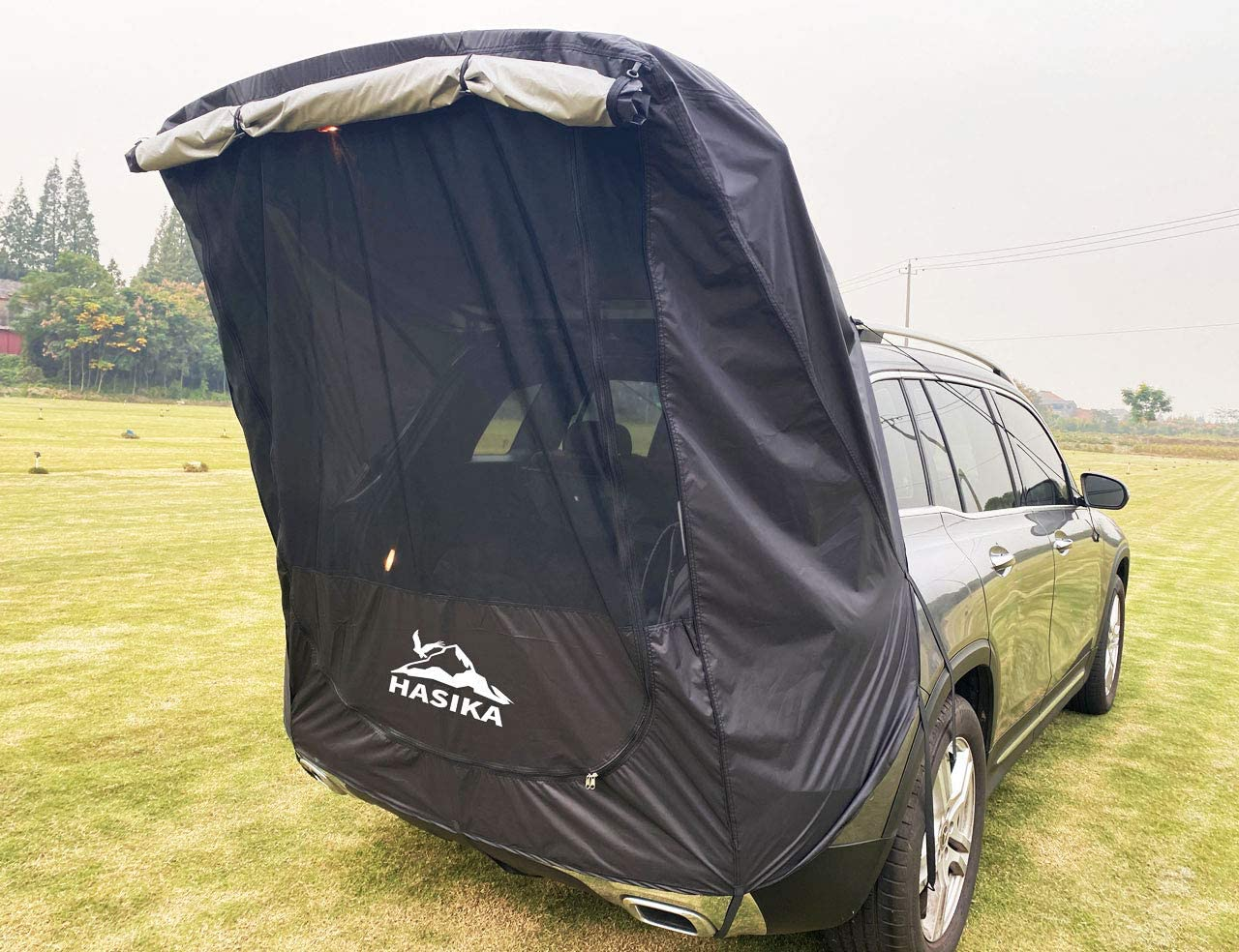 Hasika Tailgate Shade Awning Tent for Car Travel Small to Mid Size SUV Waterproof 3000MM Black