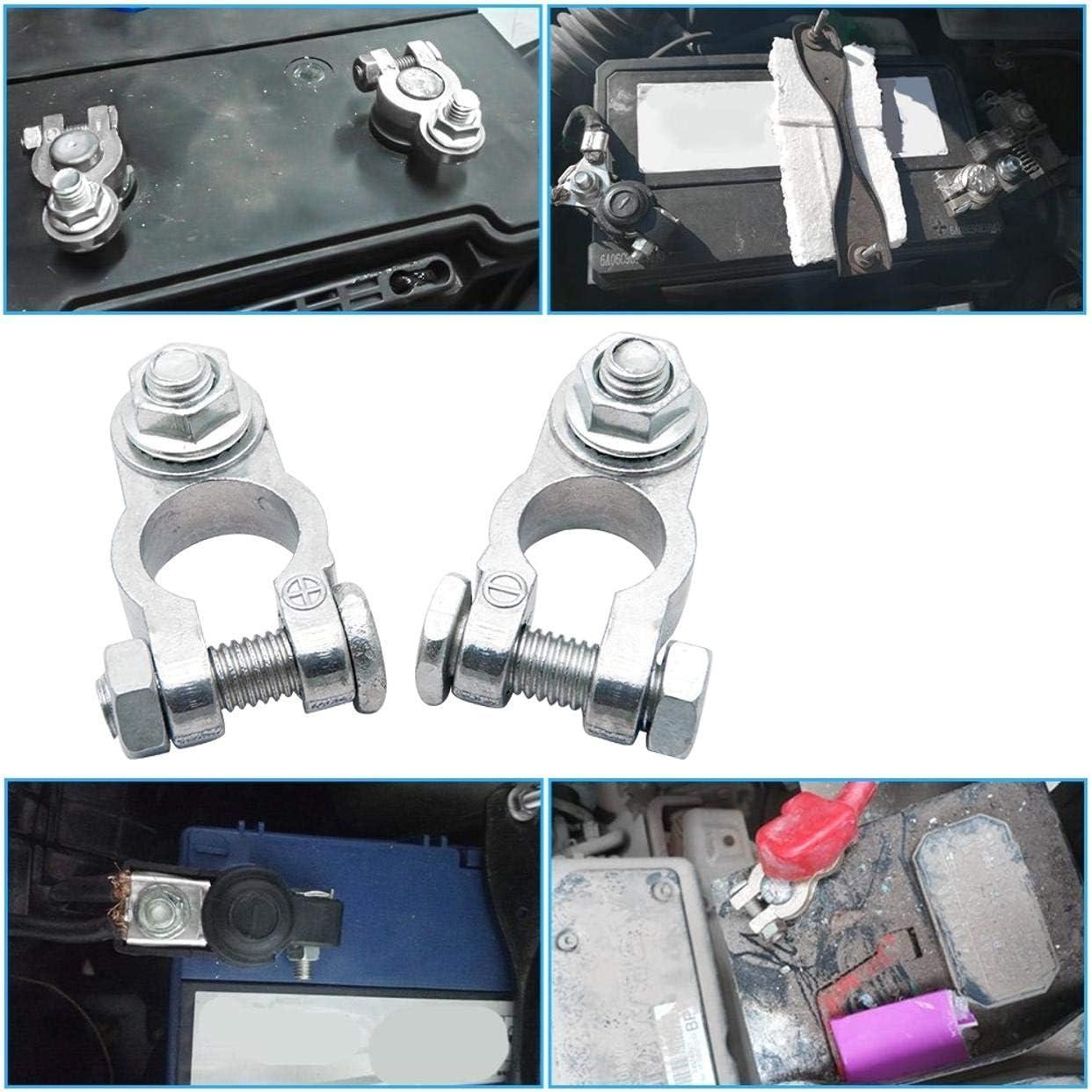 ZXYAN Conector de terminales de bater/ía de Repuesto 2pcs Positivo Negativo 16MM Plata
