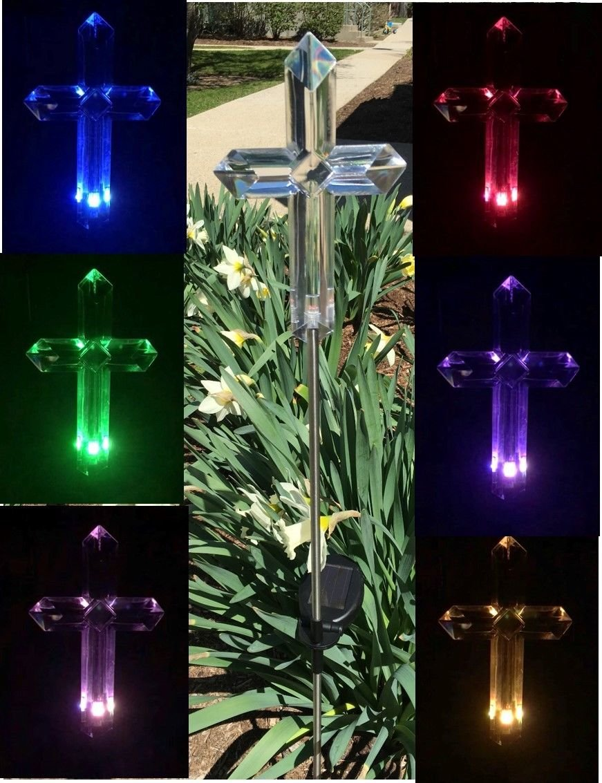 Florals Solar Cross Light Lamp, Solar Powered Garden Decor Stake Color Changing Yard LED Outdoor Landscape Light