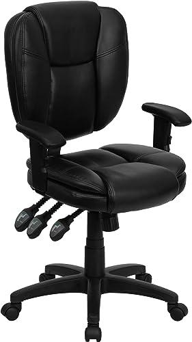 Flash Furniture Mid-Back Black LeatherSoft Multifunction Swivel Ergonomic Task Office Chair