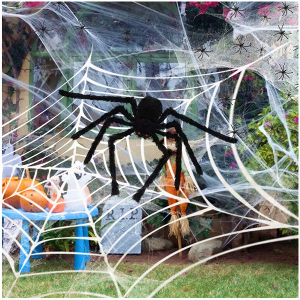 SILVIA 4 Packs Halloween Spider Decorations: 35.5'' Huge Spider + 11.8 Ft Large Spider Web + 200sqft Stretchy Dense Spider Silk+ 20Pcs 1.8'' Plastic Spiders Indoor Outdoor Decoration Party Supplies