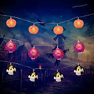Halloween String Lights, 3 Pack Pumpkin Ghost Spider Halloween Decorations 29.6ft 60 LED String Lights Battery Operated Lights for Halloween Outdoor Indoor Party Holiday Yard Decor