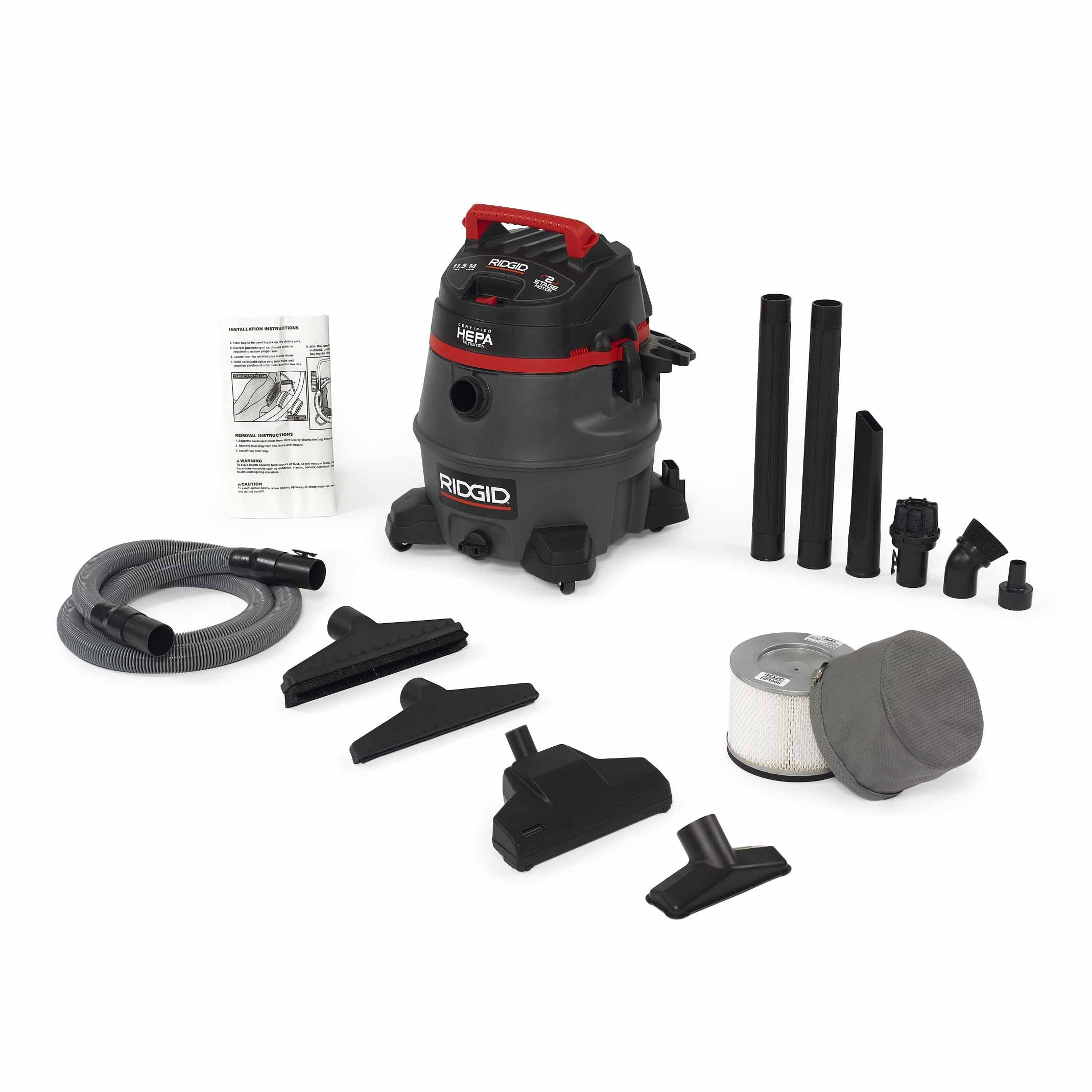 Ridgid 50368 RV2400HF HEPA Wet/Dry Vacuum, 14 gal, Red by Ridgid