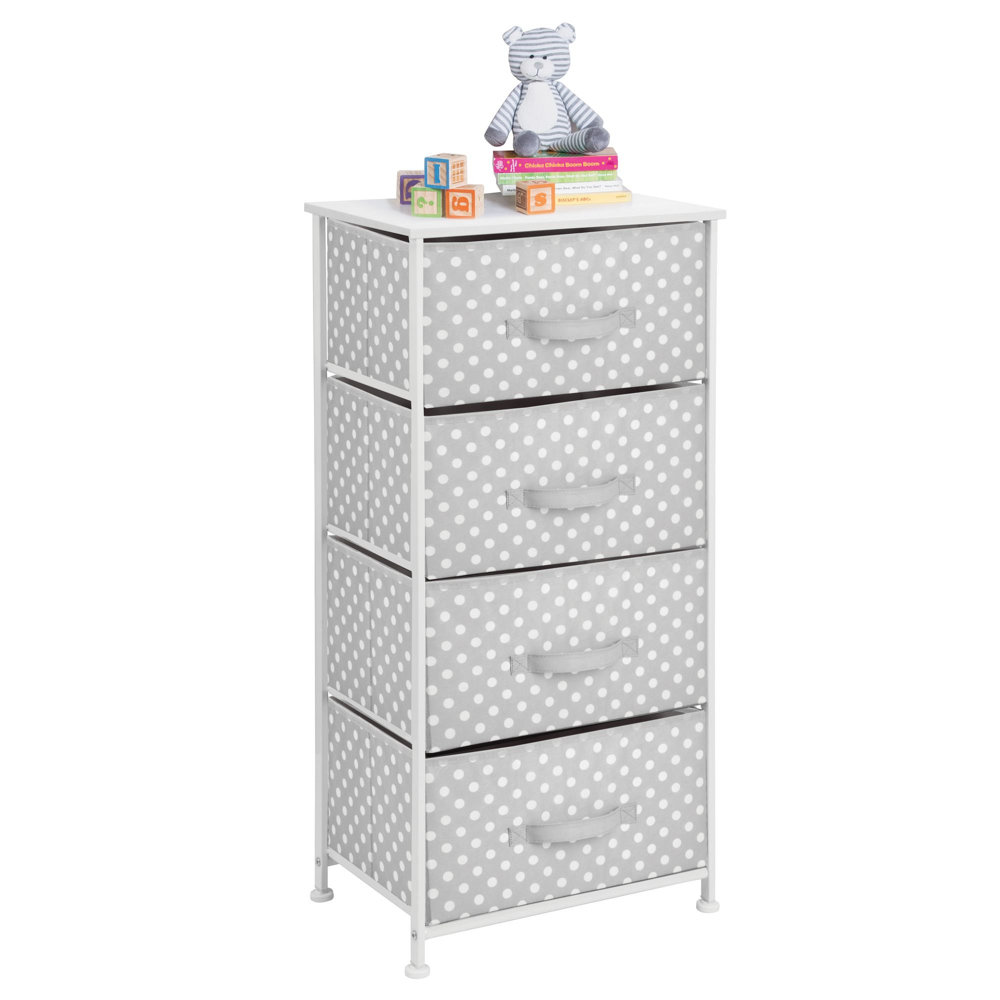 mDesign 4-Drawer Vertical Dresser Storage Tower - Sturdy Steel Frame, Wood Top and Easy Pull Fabric Bins - Multi-Bin Organizer Unit for Child/Kids Bedroom or Nursery - Light Gray with White Polka Dots by mDesign (Image #5)