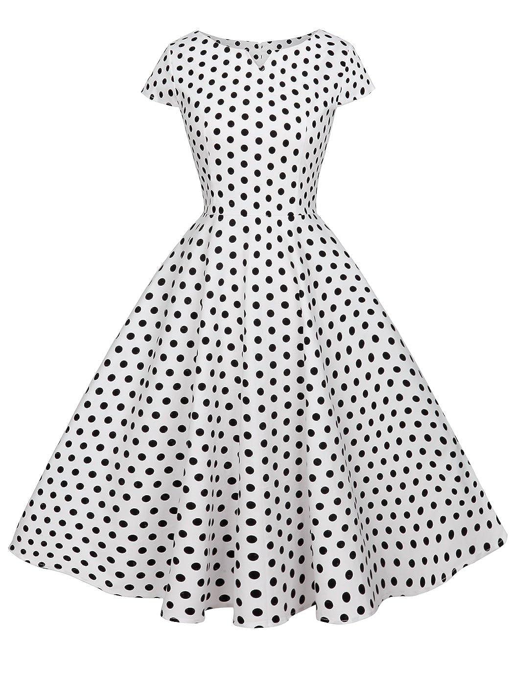 TALLA XXL. FAIRY COUPLE 1950S Vintage Rockabilly Lunares Cap Mangas Vestido de Baile DRT019 Blanco Pequeña Negro Puntos XXL
