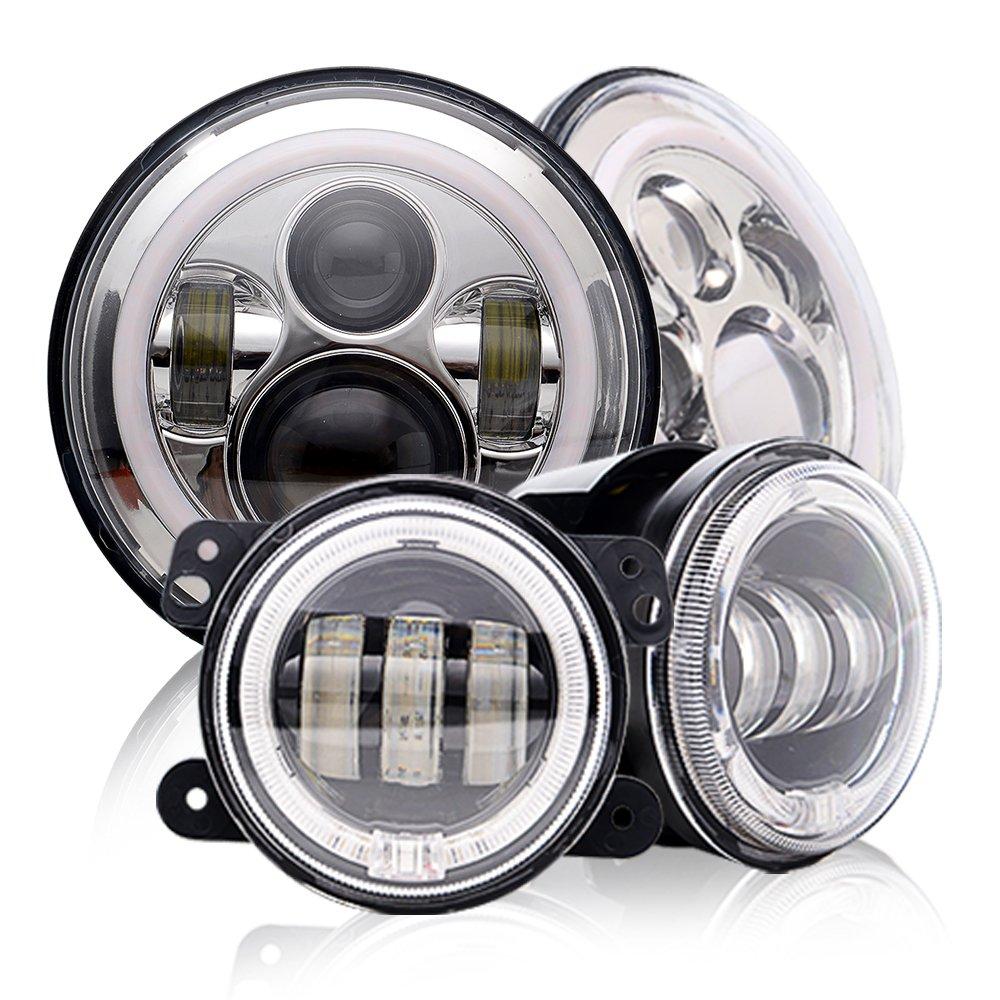 DOT Approved 7Inch Round Chrome Jeep Wrangler Projector Angel Eye LED headlights with DRL Amber turn singal Hi/Lo Beam + 4'' Halo Ring LED Fog Lights For Sahara rubicon Sport Cruiser FJ JK TJ LJ CJ