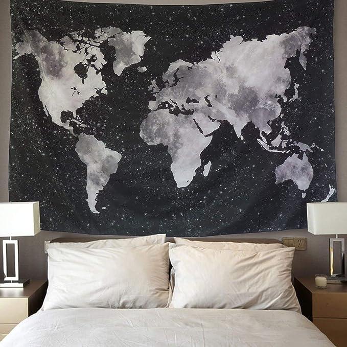 LOMOHOO Tapiz Mapa del Mundo para Pared Decoración Retro Tapiz de ...