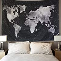 LOMOHOO Tapiz Mapa del Mundo para Pared Decoración Retro Tapiz de Tela de poliéster para Colgar Pared para Sala de Estar…