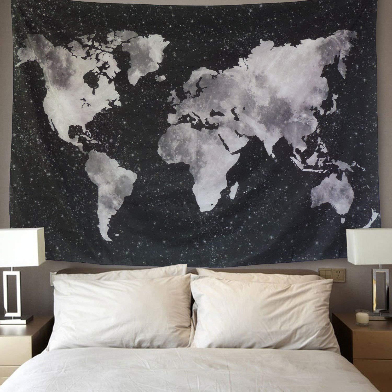 Lomohoo Psichedelico Mappa del Mondo Arazzo da parate Indiano Vinatage Bianco e Nero L//148cm*200cm