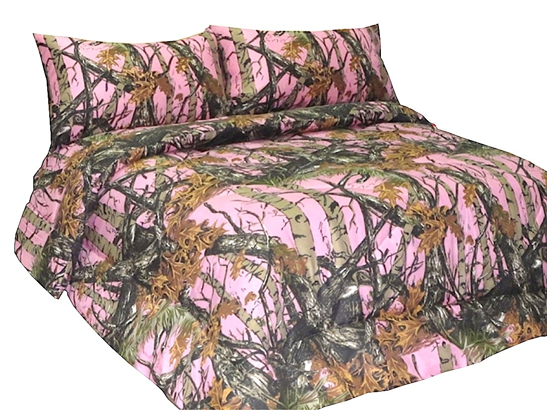 THE WOODS Premium Microfiber CAMO Sheet Set (Pink, Full)