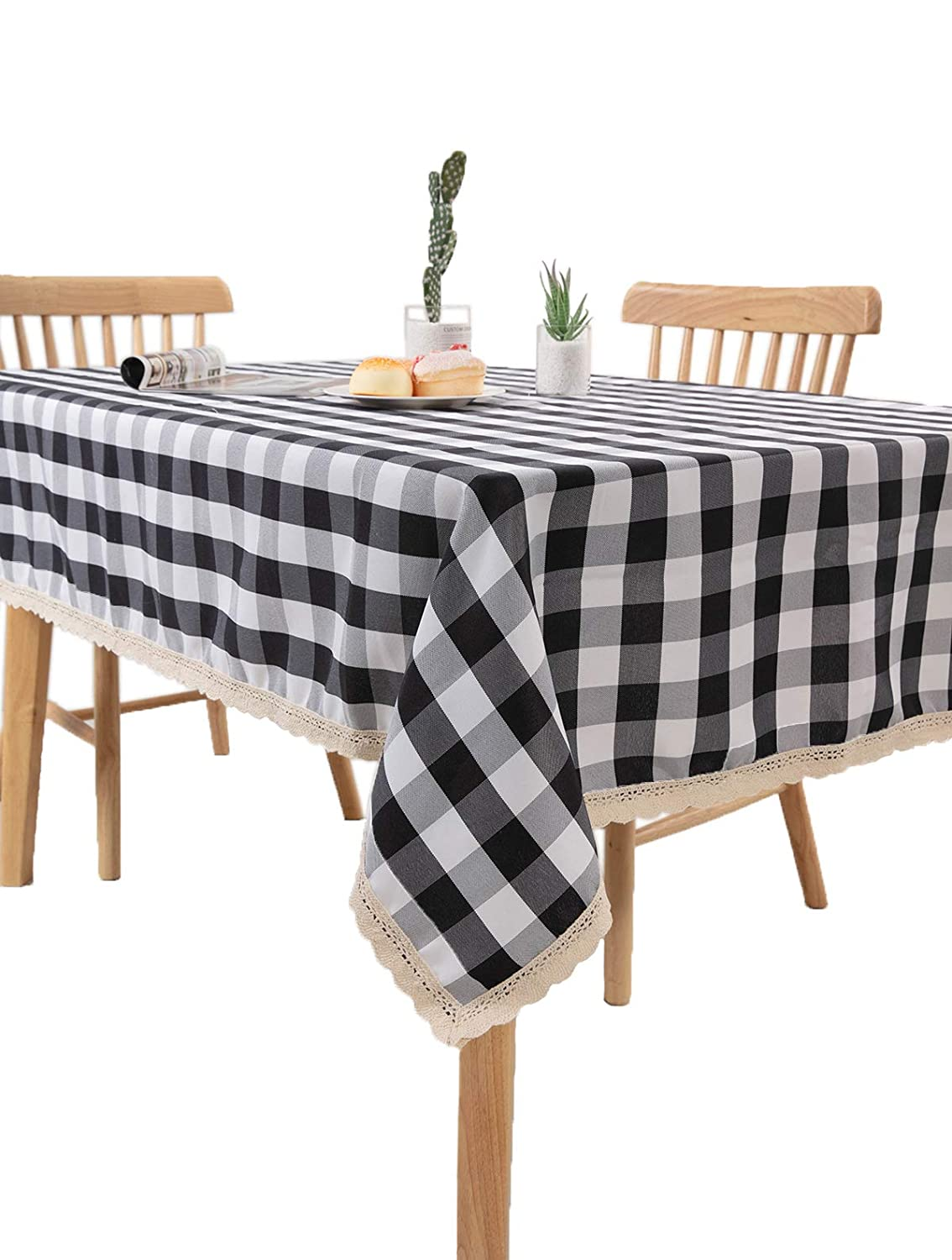 Nobildonna 55 x 72-Inch Gingham Checkered Tablecloth, Black & White Checker, Rectangular Lace Polyester Tablecloth