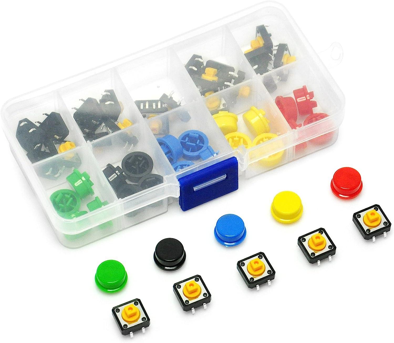 Tactile Push Button Switch Momentary Tact /& Cap 12x12x7.3mm Kit Arduino ZJ.DE