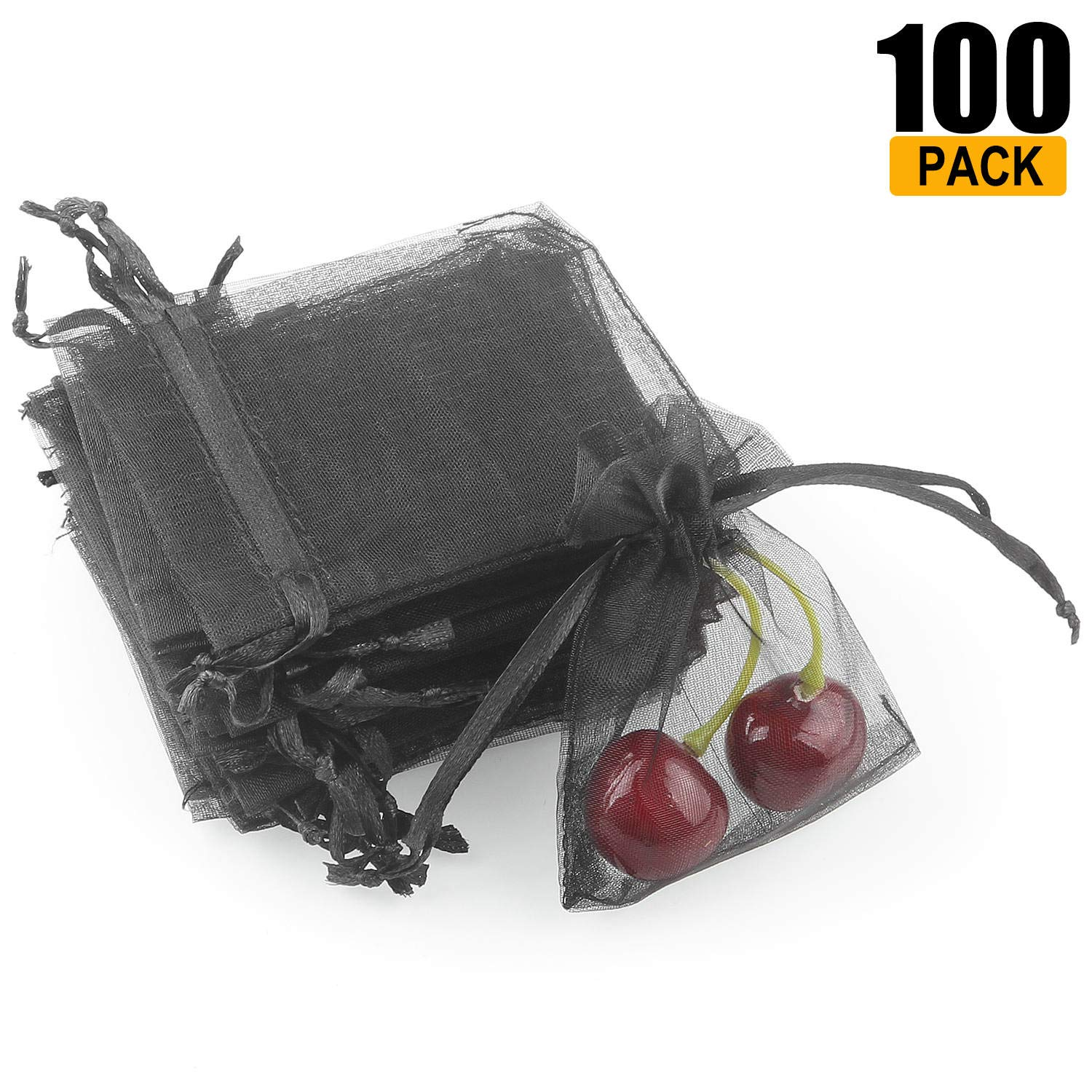 100 Pack Wedding Favour Gift Bags - LANIAKEA 9 X 7 CM Party Bags Organza Small Drawstring Pouch - Black SilkRoad Direct