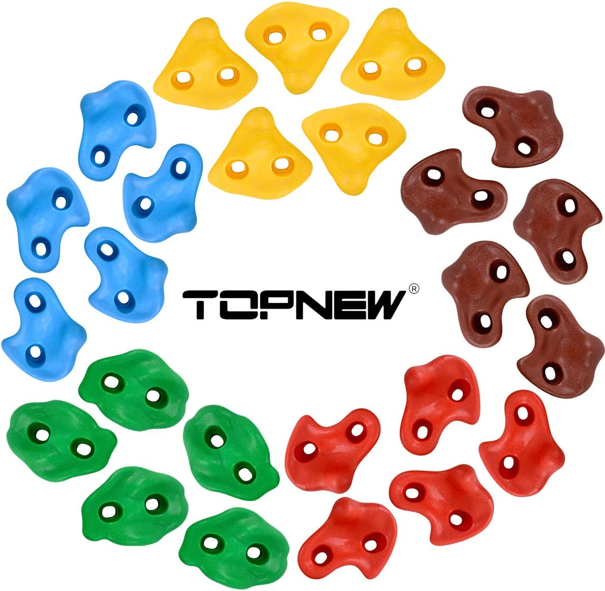 TOPNEW 25 Rock Climbing Holds for Kids and Adults, Large Rock Wall Grips for Indoor and Outdoor Play Set - Build Rock Climbing Wall with 2 Inch Mounting Hardware: Toys & Games