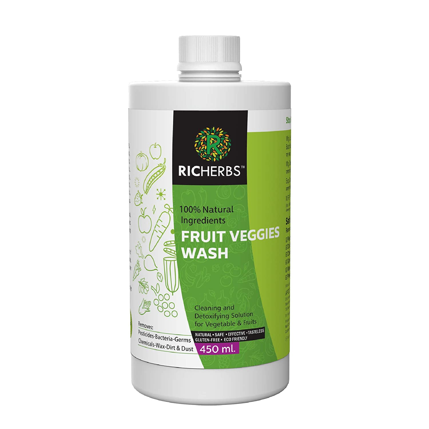 Richerbs fruits & Vegitable wash 450 ml | Removes Pesticides, Germs, Bacteria & Fungus | With Anti Microbial properties | 100% Safe & Natural