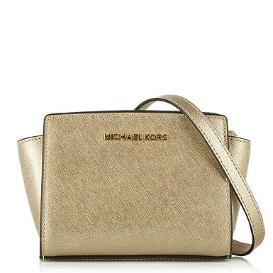8808abc06 Michael Kors - Selma Mini bolso bandolera, de color dorado, OS: Amazon.es:  Ropa y accesorios
