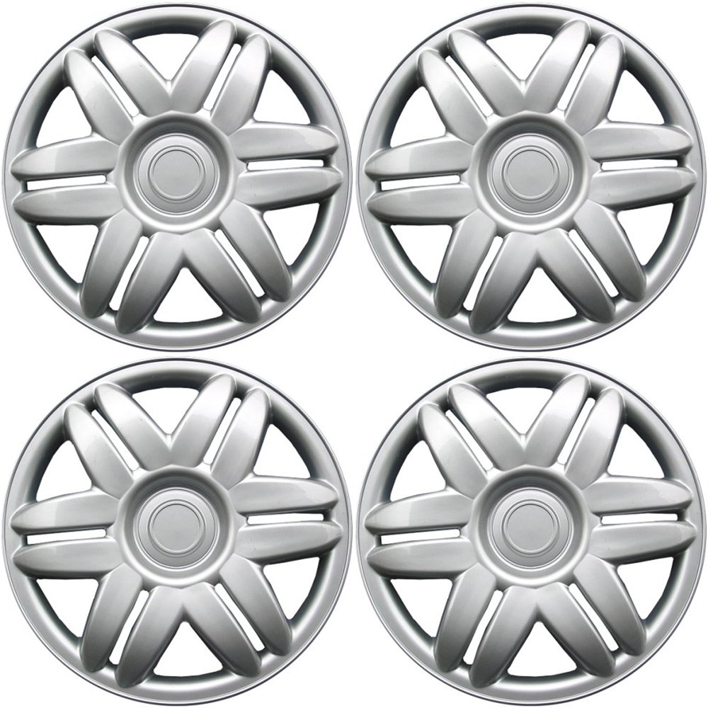 OxGord Hub-caps for 88-01 Toyota Camry (Pack of 4) Wheel Covers 15 inch Snap On Silver WCHC-61104-15S