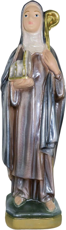 20 cm Hand-Painted Nacred Plaster Ferrari /& Arrighetti Saint Brigid of Kildare Statue