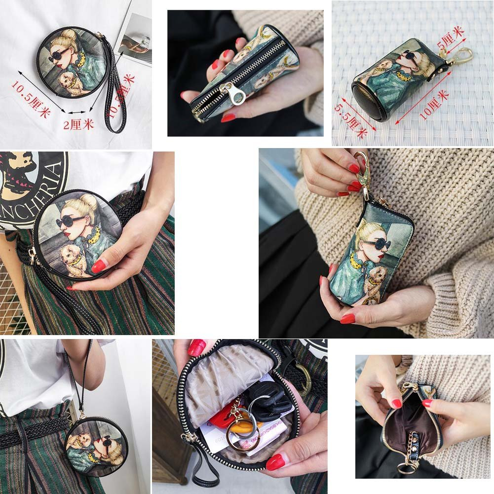 Chinese Style Cartoon Round Shape Coin Package Womens Short Wallet