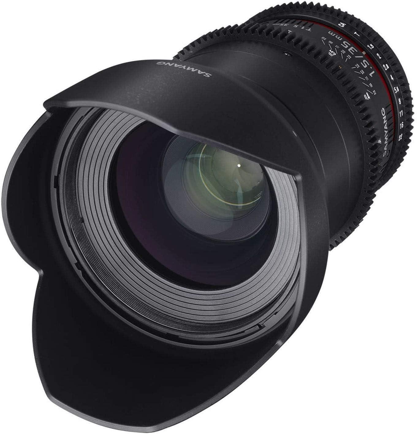 Samyang F1312901101 - Objetivo para vídeo VDSLR para Canon EF (Distancia Focal Fija 35mm, Apertura T1.5-22 AS UMC II, diámetro Filtro: 77mm), Negro