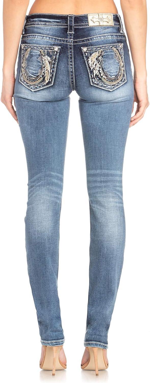 Miss Me Womens Medium Wash Horseshoe Straight Jeans M3452t