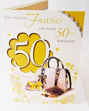 Happy 50th Birthday Friend Elegant Traditional Verse Quality 50 Greeting Card