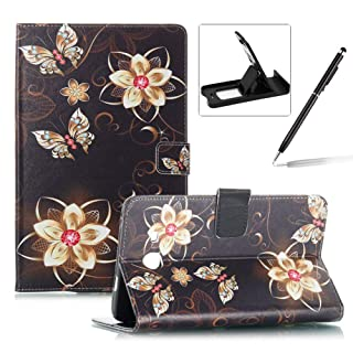 Wallet Kickstand Case for Samsung Galaxy Tab A 8.0 T380,Herzzer Stylish Pretty [Colorful Petals Pattern] PU Leather Wallet Purse Folio Stand Card Slot Cover with Soft TPU