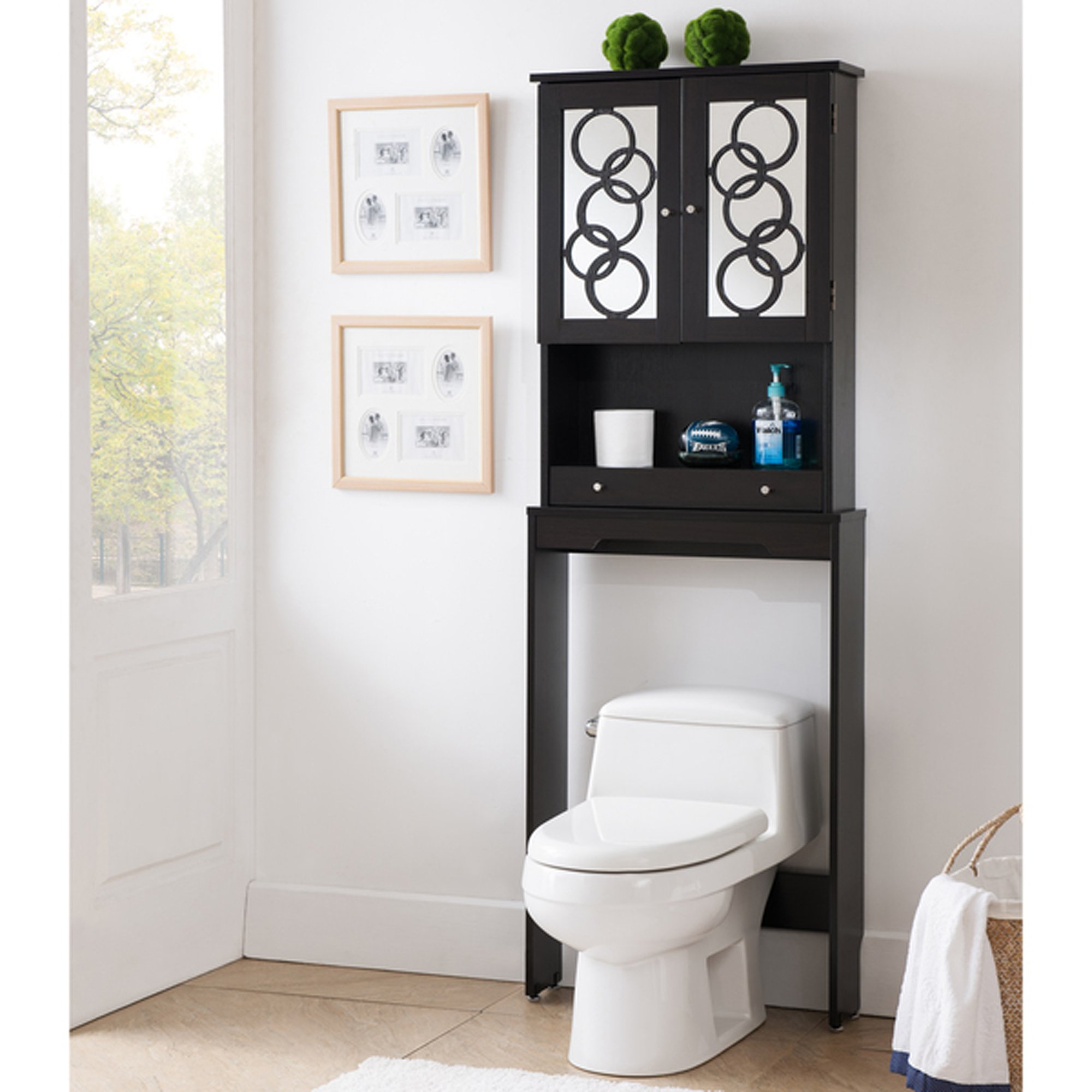 Over The Toilet Storage Cabinet Space Saver, Modern Organizer With Mirrored Panel Doors And Additional Drawer (Cappuccino)