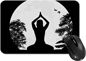 Amazon Com Msd Large Mouse Pad Xl Extended Non Slip Rubber Extra Large Desk Mat Image Id 23777546 Yoga Meditation In Lotus Pose By Woman Silhouette Background Vector I Office Products
