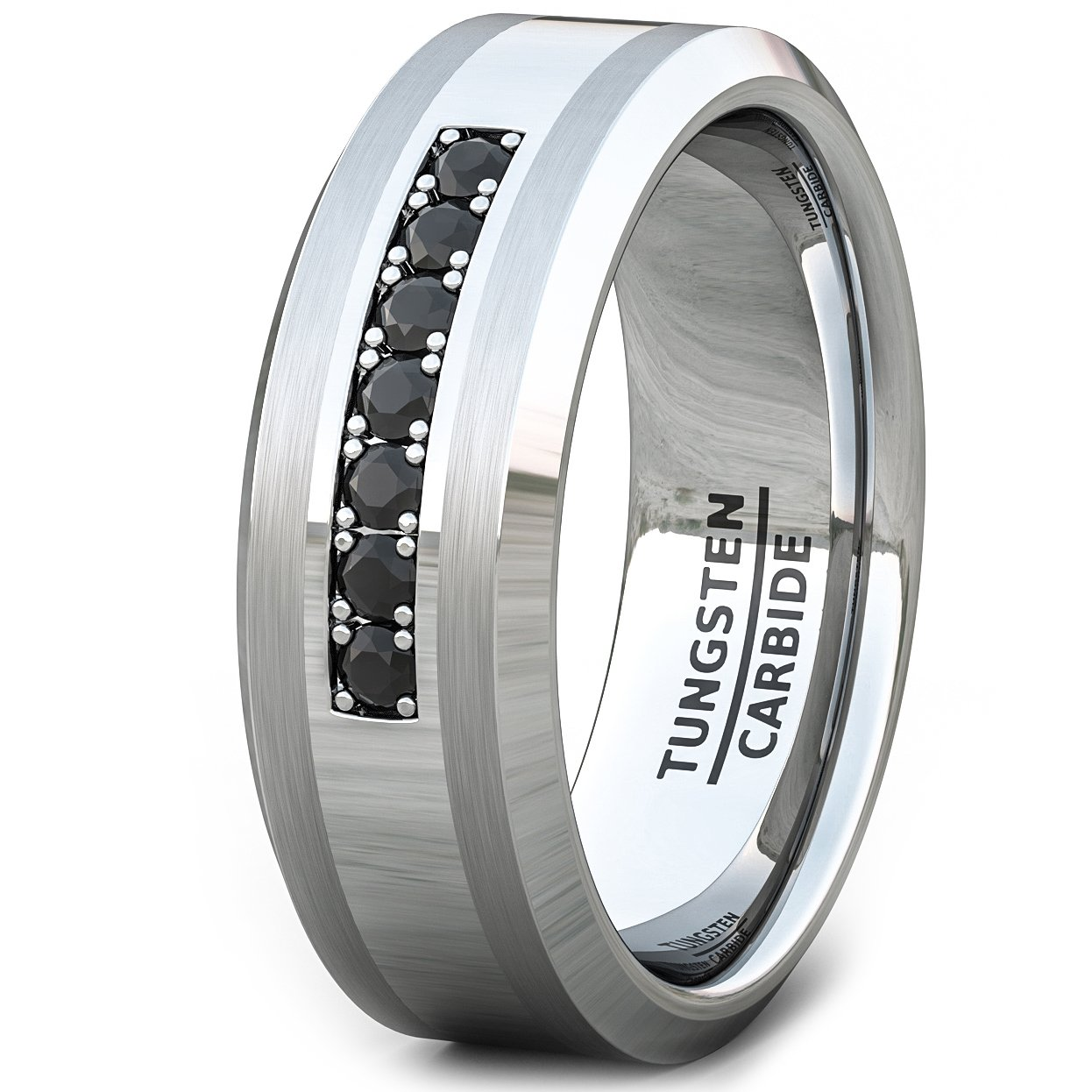 Duke Collections 8mm Tungsten Carbide Ring Black Cubic Zircon Mens Wedding Band (12.5)