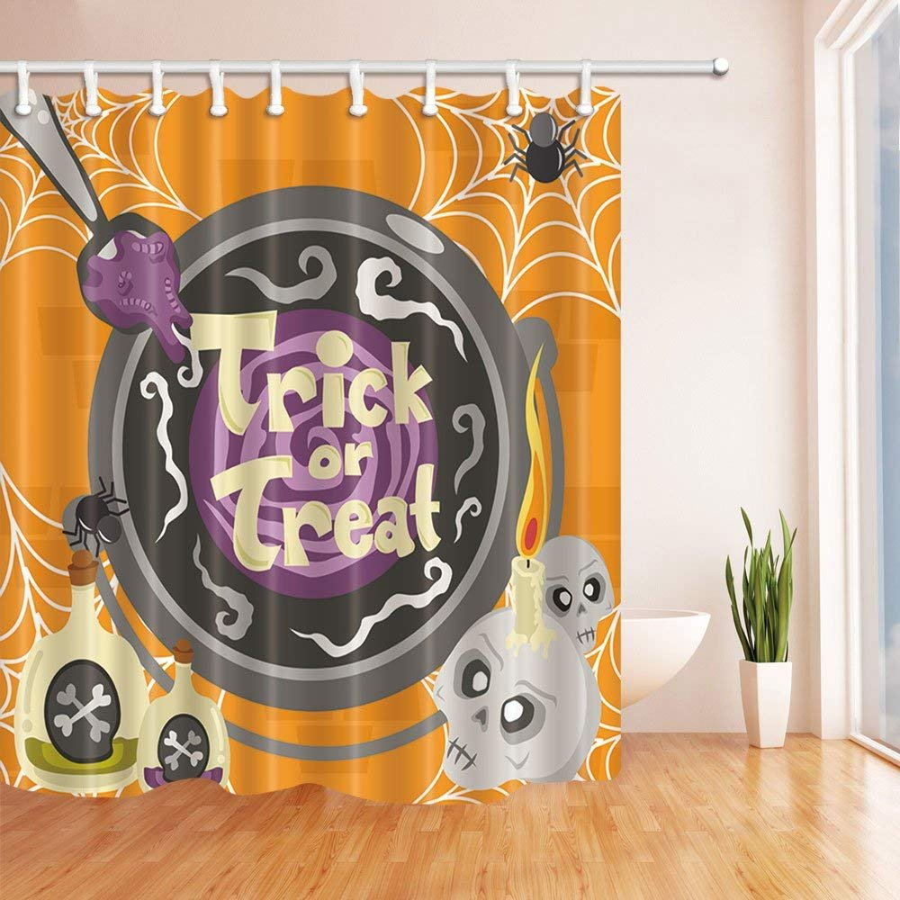 Yomyceo 3D Digital Printing Halloween Shower Curtain, Pumpkin Expressio, Mildew Resistant Polyester Fabric Bathroom Decorations, Bath Curtains Hooks Included, 72X72 inches (Multi24)